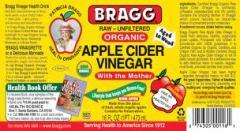 Bragg's Apple Cider Vinegar Label